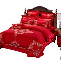 全棉婚庆四件套大红色结婚床上用品新婚婚庆六十多件套
