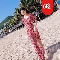 原创三亚沙滩裙女夏2018新款海边度假巴厘岛显瘦波西米亚长裙马尔代夫GH041 红花色