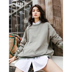 七格格套头卫衣女冬季2019新款春季韩版学生宽松字母长袖圆领上衣