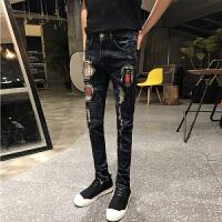 秋冬男士潮流补丁破洞小脚牛仔裤韩版修身青年男生水洗长裤子