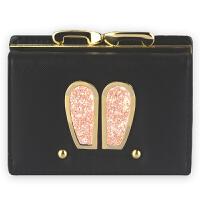 Yinbeler可爱兔子耳朵女士钱包女日韩版大容量多卡位短款暗扣零钱包女式钱夹皮夹