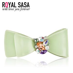 皇家莎莎RoyalSaSa蝴蝶结发夹韩国水钻盘发发饰韩版亚克力弹簧夹顶夹发卡子