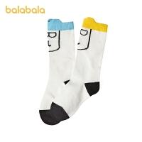 巴拉巴拉儿童袜子男女童棉袜中童2021春季新款可爱保暖舒适两双装