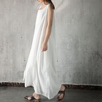 原创2018夏装棉长款无袖背心裙连衣裙长裙双层棉麻文艺大码裙子GH015 均码