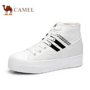 骆驼牌 女鞋 时尚高帆布鞋女高帮学生韩版舒适休闲松糕鞋子