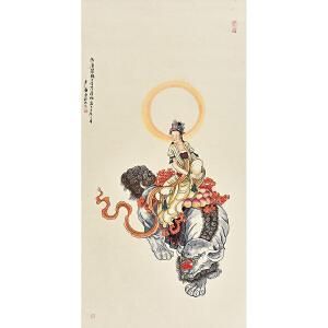 当代工笔画协会会员 卢静《阿摩提观世音菩萨像》gx0009
