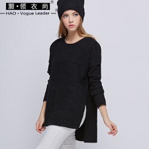 秋冬新款女装圆领毛衣长袖高领羊毛衫套头宽松针织打底