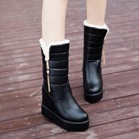 2019冬季户外防水雪地靴女中筒加厚防滑皮靴加绒保暖女士棉靴子潮