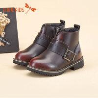 【1件2折后:35.8元】红蜻蜓童鞋冬款英伦风保暖学步鞋时尚男童儿童皮靴短靴