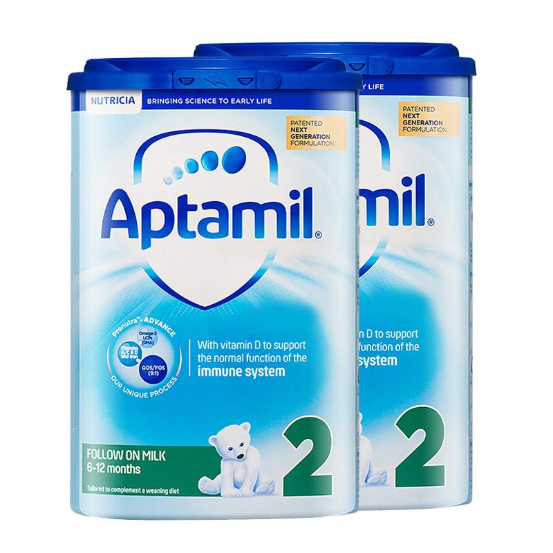 【2段普通】保税区发货 Aptamil爱他美 英爱普通婴儿奶粉 二段(6-12个月) 900g*2罐 海外购英国原装  19年7月抢购