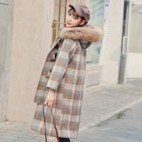 格子呢子大衣女中长韩版2018新款冬季流行加厚羊角扣毛呢外套学生 图片色