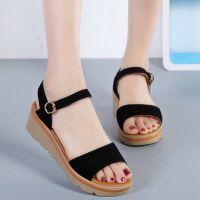 凉鞋女夏季新款韩版百搭外穿坡跟平底中跟时尚厚底学生女凉鞋