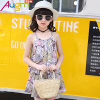 奥戈曼  女童夏装套装大童儿童装夏季韩版清新短裤衣服女孩休闲吊带两件套