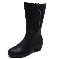 中筒靴女士保暖靴中年中跟粗跟靴子好气质妈妈鞋女靴秋冬大码女鞋