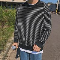 春装新品韩版宽松显瘦黑白条纹圆领套头卫衣学生外穿上衣男款