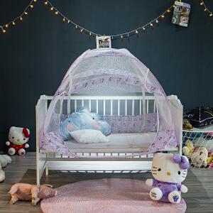 免安装宝宝蚊帐罩婴儿床蚊帐蒙古包带支架双开门儿童有底可折叠
