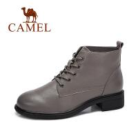 camel/骆驼女鞋 冬季新款 英伦系带牛皮女靴 简约百搭短筒靴子