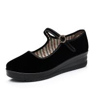女鞋单鞋平跟坡跟黑色布鞋工作酒店舞蹈一字扣鞋