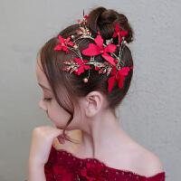 儿童礼服红色发饰花朵配饰女童发饰节日演出头花头饰花童婚纱发箍