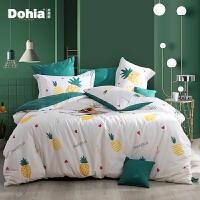多喜爱新品ins四件套全棉纯棉套件床上用品三件套菠萝心语(绿)