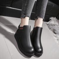 加棉加绒雪地靴女短靴保暖低跟平跟马丁靴防滑皮靴磨砂松紧带女靴