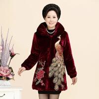 老年人冬装女棉衣60-70-80岁奶奶装胖老太太加肥加大加厚棉袄 酒红色凤凰 XL建议95-118斤