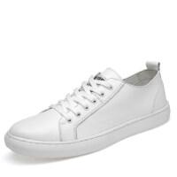 品牌欧洲站男鞋真皮板鞋韩版潮百搭软底年轻人磨砂全黑色英伦休闲皮鞋