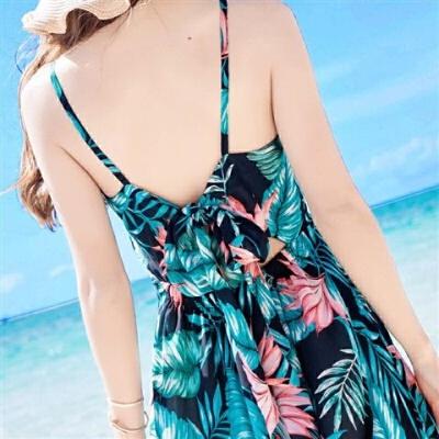 女装露背吊带荷花雪纺连衣裙波西米亚长裙海边度假沙滩裙 花色 XX