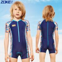 ZOKE洲克迪士尼新款儿童泳衣连体汽车总动员版男童卡通保暖速干温泉游泳衣