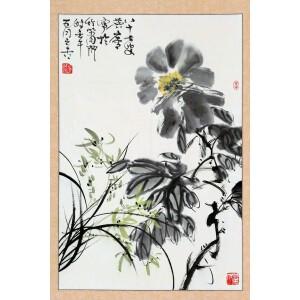 国画家、书法家、书画鉴赏家  许麟庐(原装旧裱)《花卉》