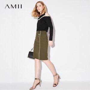 【品牌团 1件7折/2件5折】Amii[极简主义]2017秋新品撞色几何线条运动风半身裙11763921