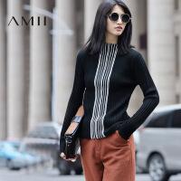 【1件7折/2件5折 再用券】AMII[极简主义]秋冬修身竖条纹高领套头针织羊毛衣女11682200