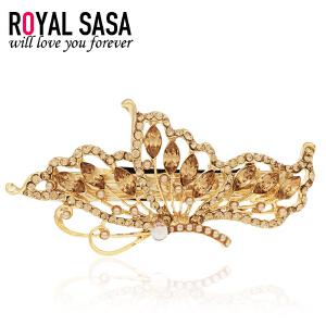 皇家莎莎RoyalSaSa饰品发饰弹簧夹人造水晶顶夹 头饰女韩版发卡子马尾发夹横夹