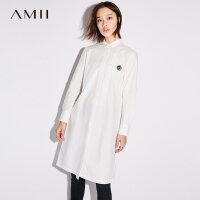 Amii[极简主义]2017秋装新款大码休闲翻领绣花排扣连衣裙11744996