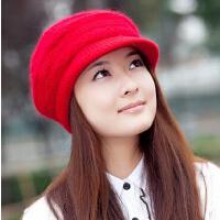 韩版冬季帽子女 潮可爱毛线帽秋冬天女士兔毛针织帽