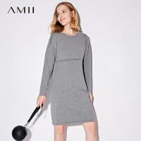 Amii[极简主义]2017秋装女新款大码休闲落肩袖毛织连衣裙11744337