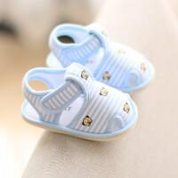201908220833160712019年夏季新品儿童包头凉鞋0-12个月新生儿婴儿布鞋宝宝学步鞋女防滑软底牛筋底白