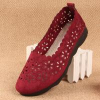 老北京中老年妈妈布鞋女单鞋夏透气平跟平底软底老人防滑奶奶凉鞋 红色 (网鞋1713红色q)