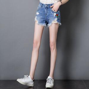 卡茗语夏季新款韩版高腰牛仔短裤女破洞刺绣学生修身百搭流苏短裤女夏