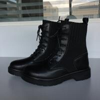 秋冬季马丁靴英伦风学生飞织透气短靴女鞋子皮面潮女靴子雪地棉鞋