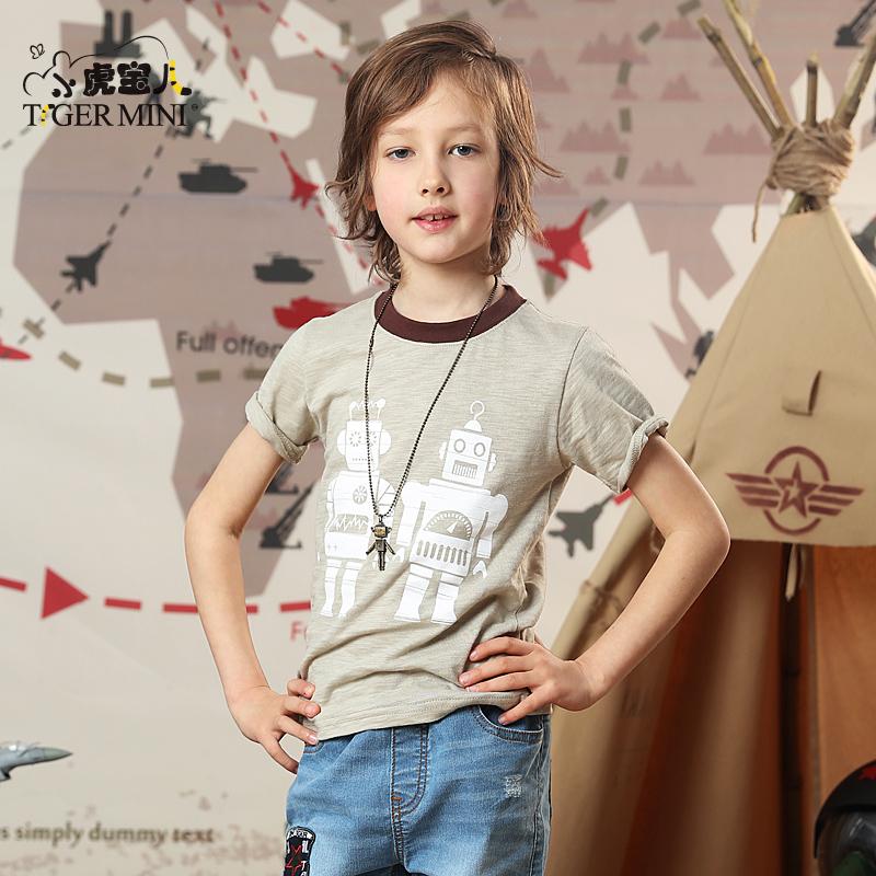 男童短袖t恤夏装儿童韩版潮2018中大童纯棉体恤休闲童装小虎宝儿