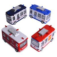 嘉业警车消防*电信流动车合金声光回力儿童玩具车模型
