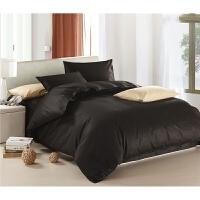 纯棉素色简易床单四件套纯色床上用品床笠三件套深色黑色 床笠款 2.0米床四件套