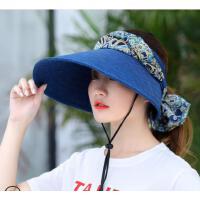 遮阳帽女夏出游骑车户外可折叠大檐帽空顶太阳帽休闲