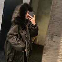 黑色棉衣女中长款大毛领2018新款冬韩版加厚ins宽松bf外套潮 黑色