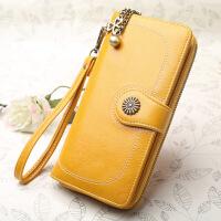 女生钱包长款钱包复古女士手机包三折长款拉链手包卡包