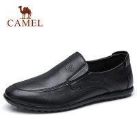 【领券满279减100】camel 骆驼男鞋新品透气耐穿舒适套脚商务休闲鞋柔软牛皮鞋男