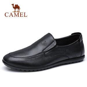 camel 骆驼男鞋新品透气耐穿舒适套脚商务休闲鞋柔软牛皮鞋男