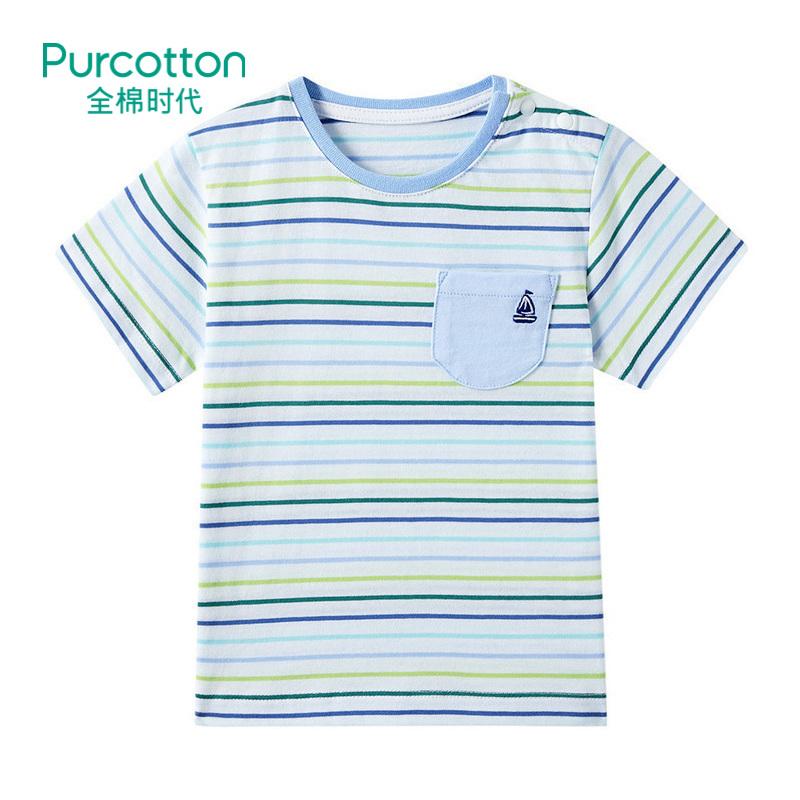全棉时代 蓝绿彩条幼儿男款针织色织短袖T恤1件装