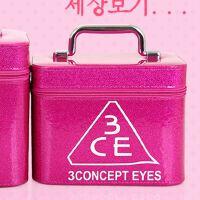 化妆包大容量小号便携韩国简约少女心可爱收纳盒品大号化妆箱手提 姜黄色 玫红色中款